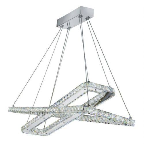 Clover - 2 X Led Rectangle Frame Ceiling , Chrome, Clear Crystal Trim 7123Cc